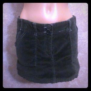Velvet Style Olive Green Mini Skirt with pockets